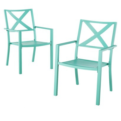 Yes, yes, they're teal in this picture (which I was so tempted by), but in  the store, I had the choice between the dark teal and black. threshold chair - Musical Patio Chairs Oh, The Fun…